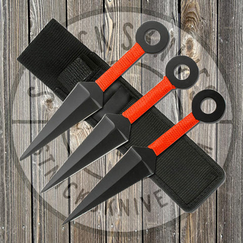 Throwing Knives - 3pc Set - 8 in - Kunai - Black w/ Red Cord - TK-008-3