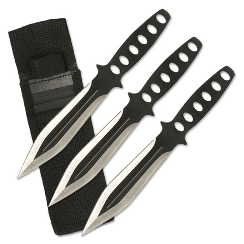 Throwing Knives - Two Tone Black - Stainless Steel - 3 Piece Set w/ Sheath - RC-136-3 - St. Nick's Knives
