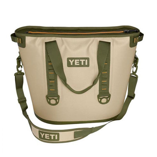 YETI Coolers - Hopper 40 - Soft-Sided Cooler - Field Tan / Blaze Orange - YHOP40T