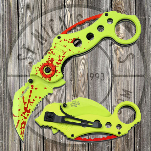 Z Hunter - Spring Assisted - Green w/Red - Karambit - ZB-051GR