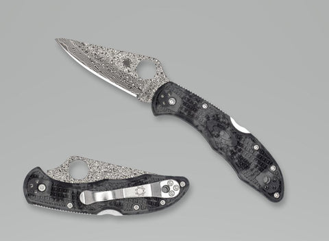 Spyderco - Delica - Damascus Blade - Black and Grey ZOME Handle - Distributor Exclusive- C11ZPGYD