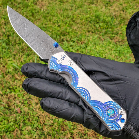 "Chris Reeve - Large Sebenza 31 - Unique - Ladder Damascus - Triple Opal Mosaic Cabochon - SS19 ""A"" - L31-1412"