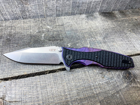 "Zero Tolerance 0393SW - St. Nick's Custom Anodization - ""Raindrops"""