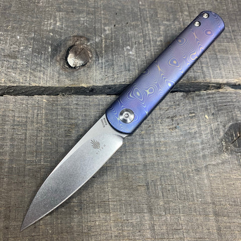 "Kizer Feist - Drop Point - ""Raindrop"" - Ano Fade - St. Nick's Custom Anodization"