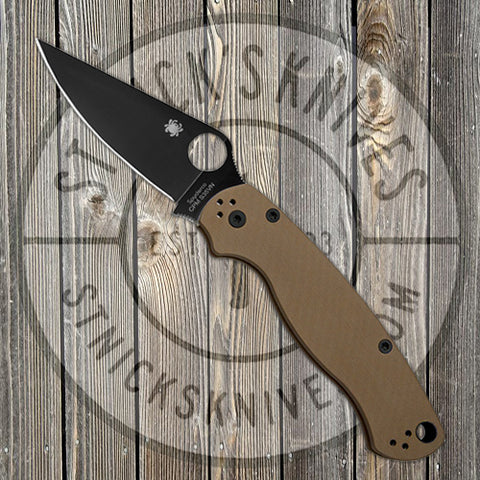 Spyderco - Para-Military 2 - Brown G10 - Plain Edge - Black S35VN Blade - Exclusive - C81GPBNBK2