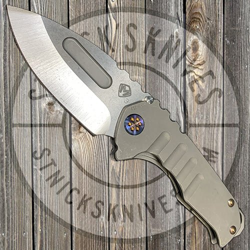 Medford - Praetorian Genesis T - 3V - Tumbled Drop Point Blade - Tumbled Handles - Flamed Hardware and Clip - NP3 Breaker