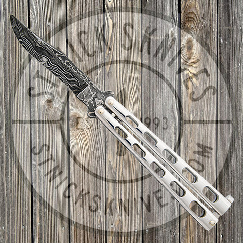 "Bear & Son - 5"" Stainless Steel Butterfly Knife - Damascus - SS14D"