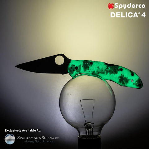 Spyderco - Delica - Plain Satin VG-10 Blade - Glow in the Dark ZOME Handle - Distributor Exclusive- C11ZFPGITD