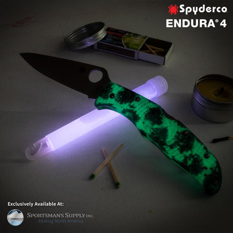 Spyderco - Endura - Plain Satin VG-10 Blade - Glow in the Dark ZOME Handle - Distributor Exclusive- C10ZFPGITD