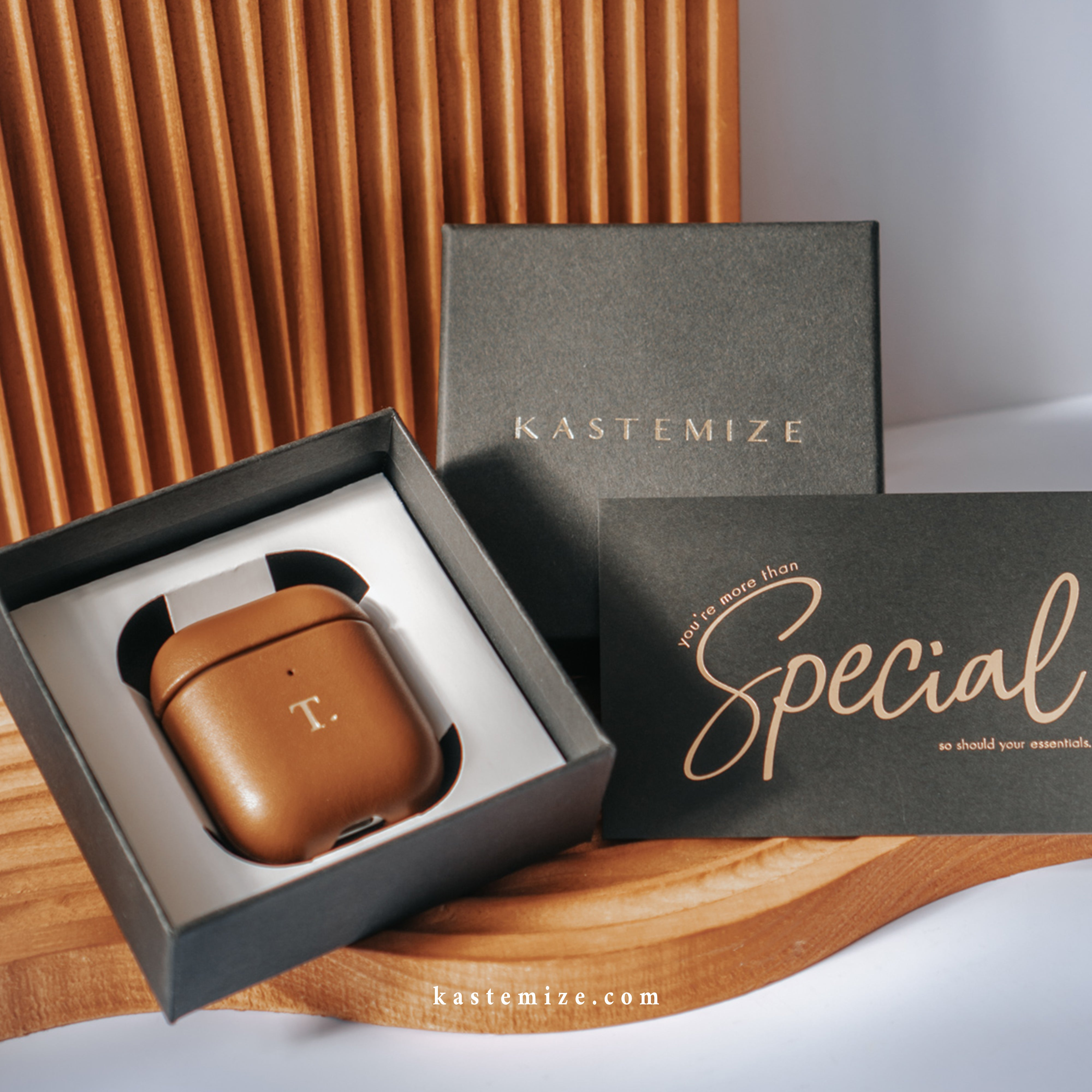 Personalised Brown Airpods Case in Singapore with name engraving and customisation