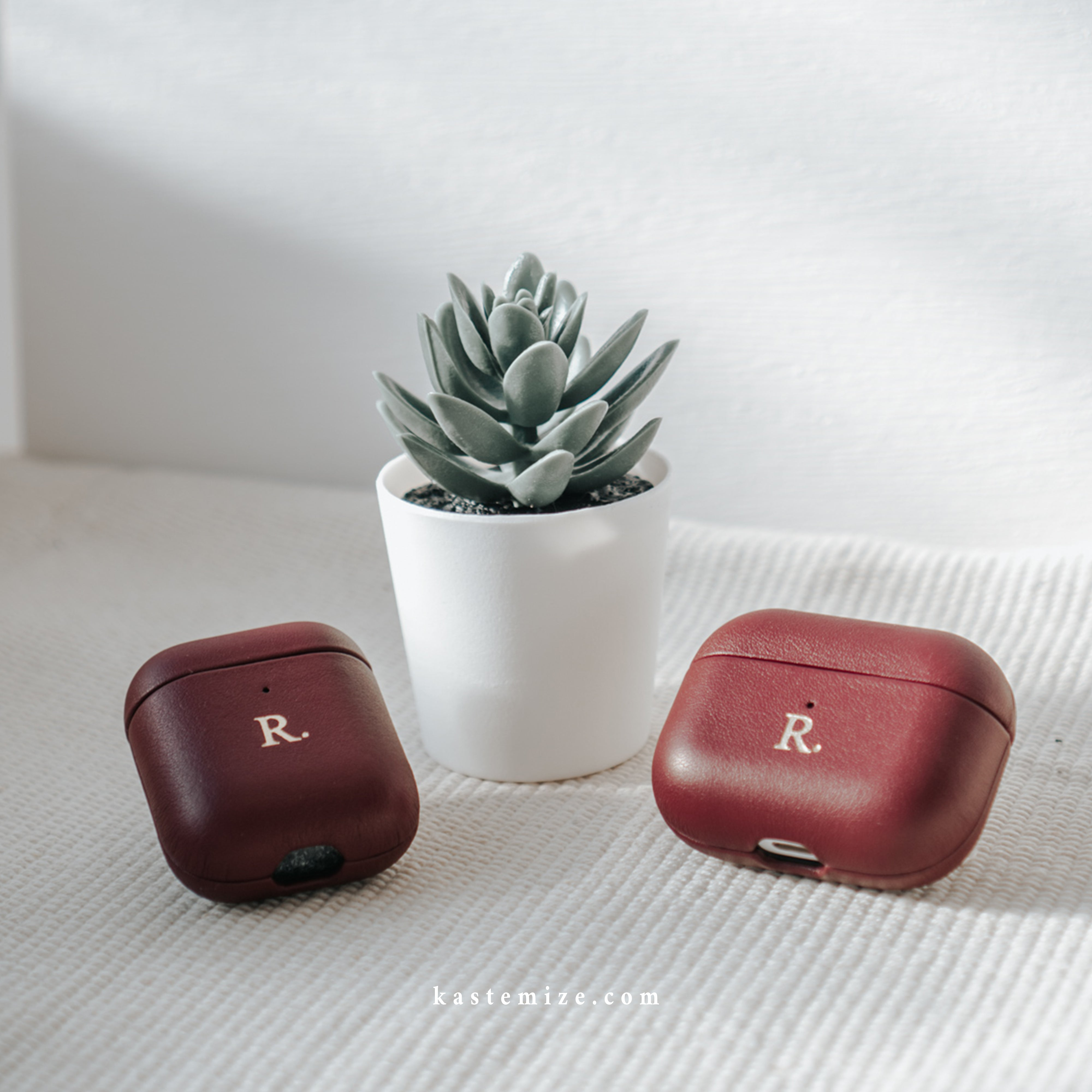 Personalised Burgundy Airpods Pro Case in Singapore with name engraving and customisation