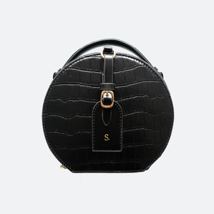 Olivia Round Shoulder Bag in Black - Kastemize