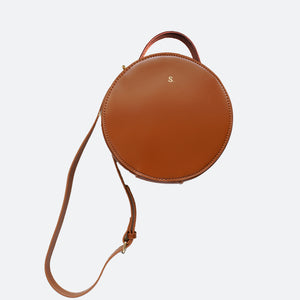 Ophelia Round Shoulder Bag in Tan - Kastemize