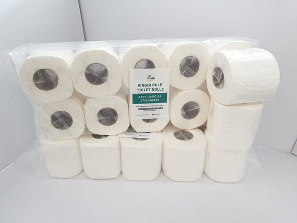 P'lette Toilet Rolls - 2750 sheets (3 Ply) Individually Wrapped