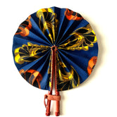 Blue Orange & Yellow Floral Ankara Fan
