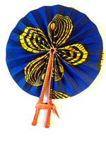 Blue and Yellow Sun flower Ankara Fan