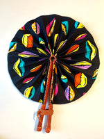 Multi-Colored Cowrie Shell Ankara Fan