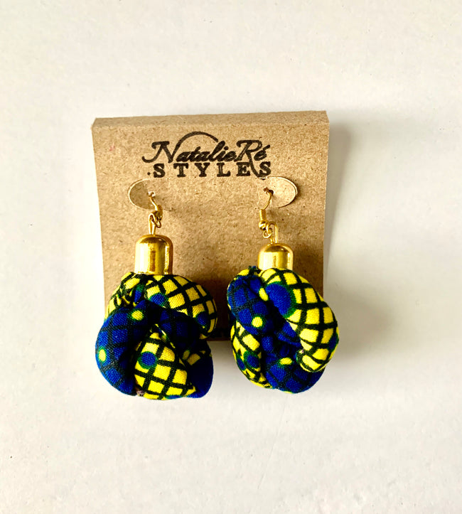 Royal Blue & Yellow Corded/Knotted Earrings