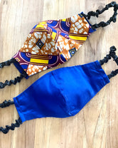 Blue, yellow,  Ankara Print Reverse Side Royal Blue