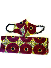Purple-Burgundy Circle Ashanti mask & Head wrap set