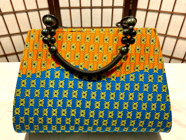 "Orange, Yellow, Blue 'Ashanti' beaded ""catch all"" Tote"