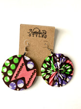 Pink/Purple & Green Ankara Reversible Earrings