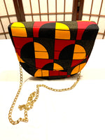 Mustard Red and Black Circle 'Heather' Half Moon Cross Body