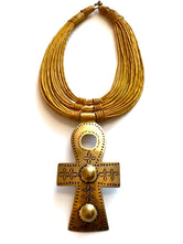 Ankh Brass Pendant/Leather Layer Necklace