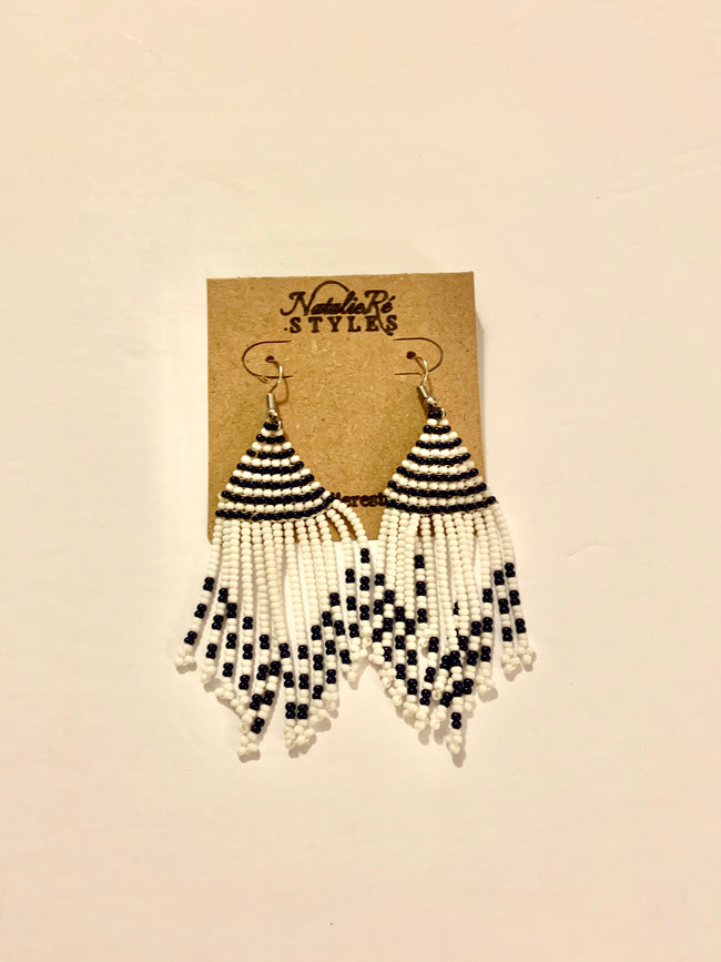 White & Navy Masai Beaded Earrings