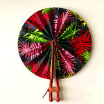 Pink, Red & Green Palm Ankara Fan