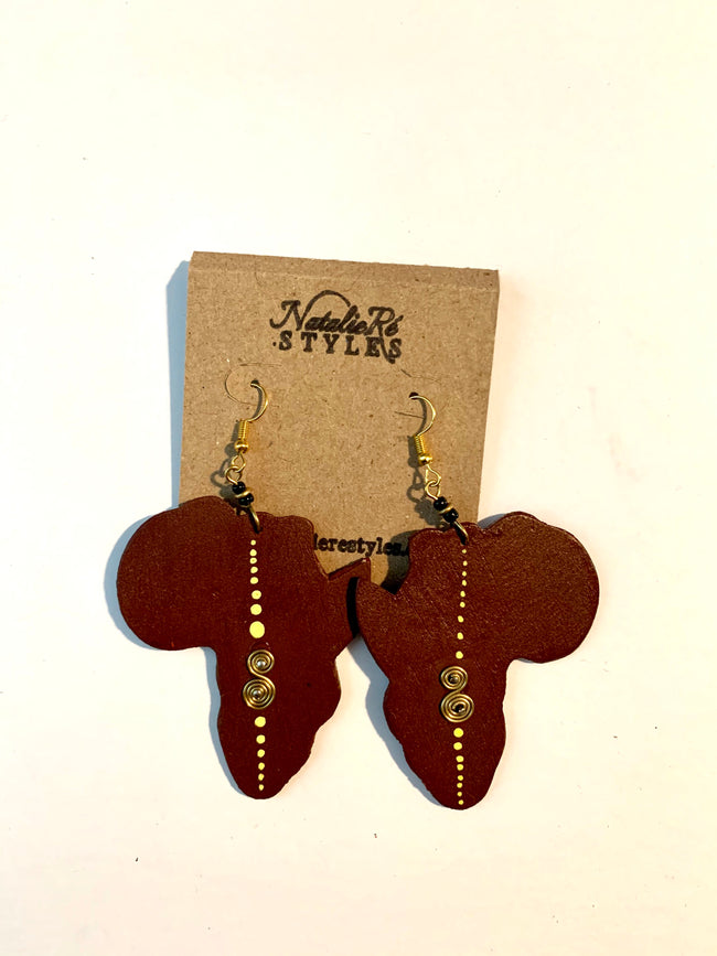 Brown African Continent hand carved wood earrings