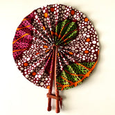 Green/Pink & White polka dots Ankara Fan