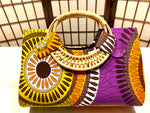 "Orange, Mustard, Purple 'Ashanti' Woven handle ""Catch All"" Tote"