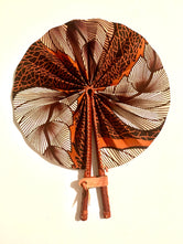 Brown/Beige Leaves Ankara Fan
