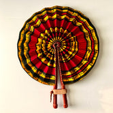 Red & Mustard Circular Ankara Fan