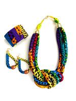 Corded Knot Necklace Cuff and Earrings Ankara Corded Set