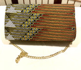 Bedazzled Ankara Design 'Karen' Clutch with chain strap