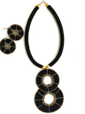 Black & Gold Masai Choker & Earrings