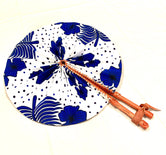 Blue & White Floral Ankara Fashion Fan