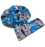 Blue, Black & White Nightcap Head Bonnet with Wrap Headband