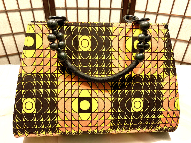 "Brown, Yellow and Coral 'Ashanti' beaded ""catch all"" Tote"