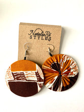 Brown, Amber, white Ankara Reversible Earrings
