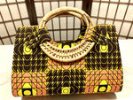 "Coral Yellow 'Ashanti' Woven handle ""Catch All"" Tote"