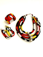 Corded Silver Bead Layered Ankara Necklace Cuff and Earrings