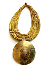 Round Brass Pendant/Leather Layer Necklace