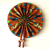 Orange with Turquoise and Green Ankara Fan