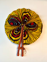 Mustard/Yellow Red Flower Ankara Fan
