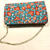 Turqoise and Pink Flowers 'Karen' Clutch with chain strap