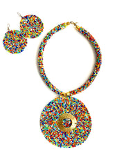 Multi-Colored Masai Round Pendant and Earrings