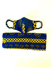 Royal blue/Mustard Mask & HeadWrap set
